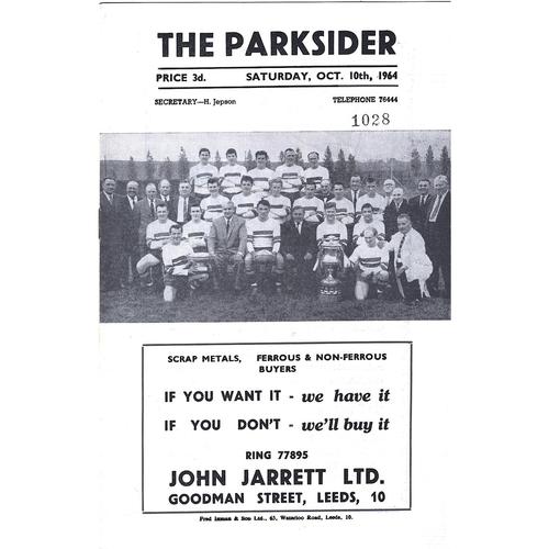 1964/65 Hunslet v Workington Town Rugby League Programme