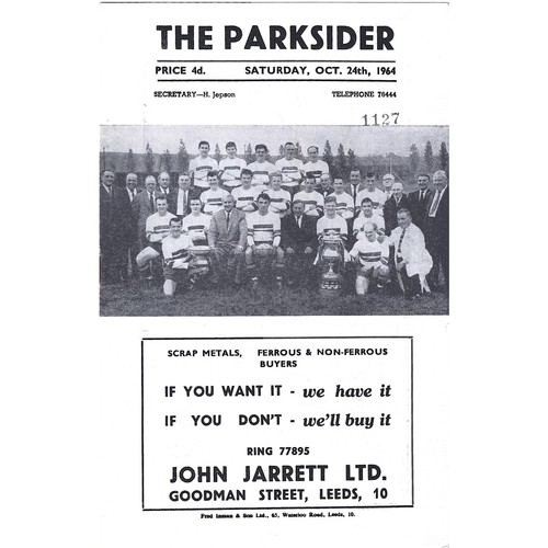 1964/65 Hunslet v Hull Kingston Rovers Rugby League Programme