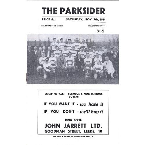 1964/65 Hunslet v York Rugby League Programme