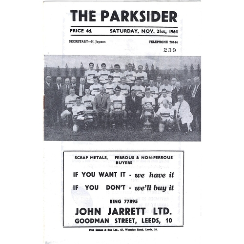 1964/65 Hunslet v Keighley Rugby League Programme