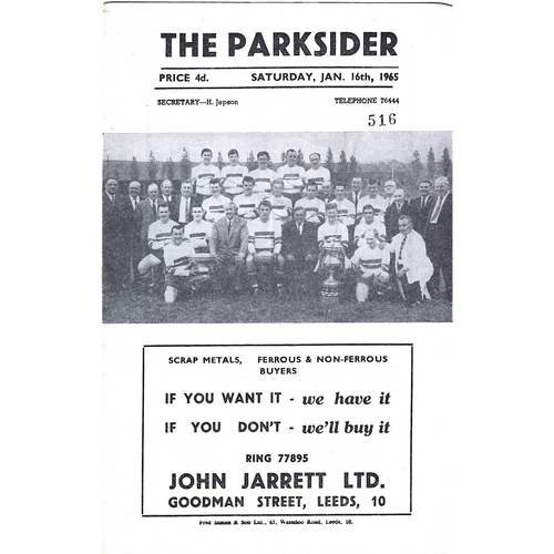1964/65 Hunslet v Doncaster Rugby League Programme