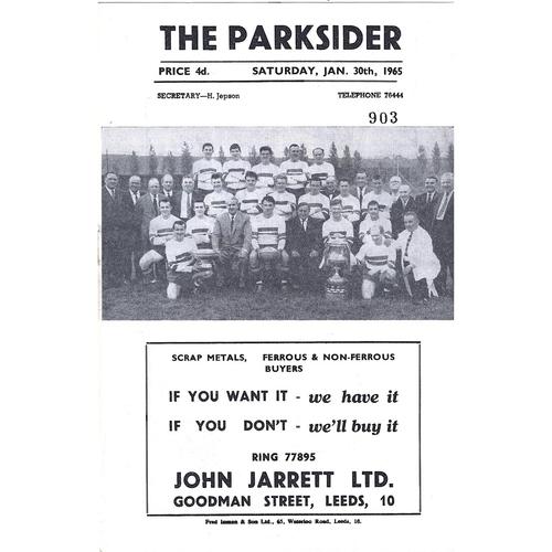 1964/65 Hunslet v Castleford Rugby League Programme