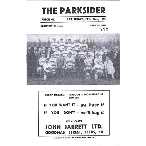1964/65 Hunslet v Batley Rugby League Programme