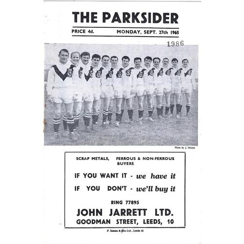 1965/66 Hunslet v Castleford Yorkshire Challenge Cup Semi Final Rugby League Programme