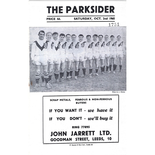 1965/66 Hunslet v Halifax Rugby League Programme