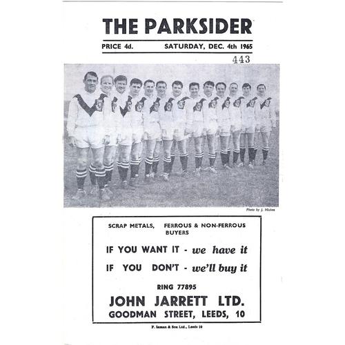 1965/66 Hunslet v Doncaster Rugby League Programme