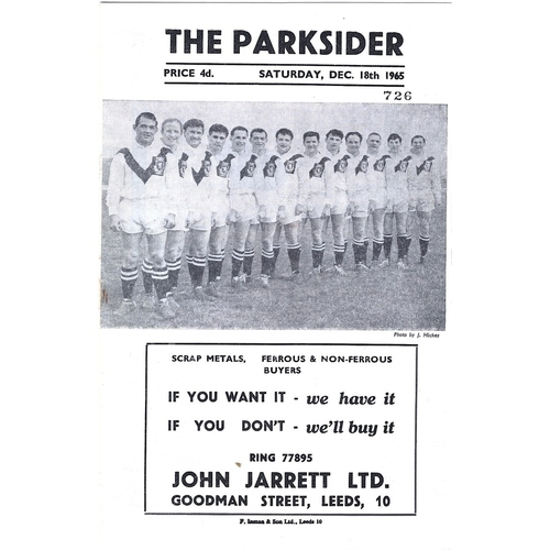 1965/66 Hunslet v Featherstone Rovers Rugby League Programme