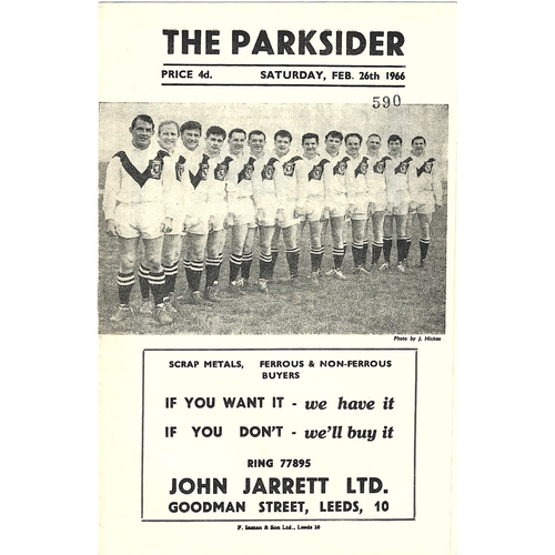 1965/66 Hunslet v Whitehaven Rugby League CHallenge Cup 1st Round Programme