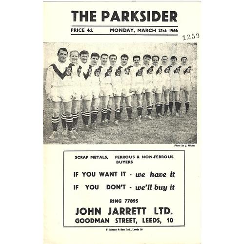 1965/66 Hunslet v Huddersfield Rugby League Programme