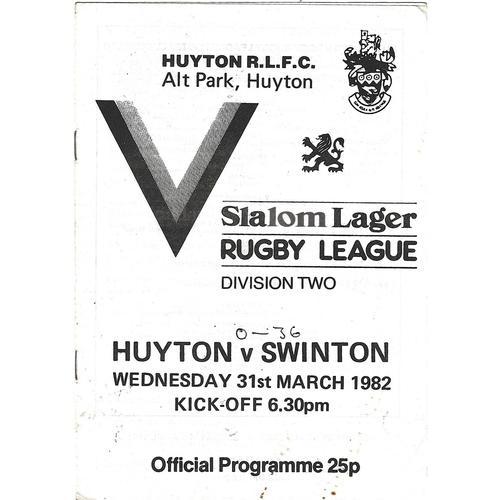 1981/82 Huyton v Swinton Rugby League Programme