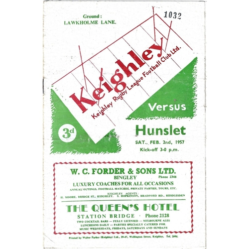 1956/57 Keighley v Hunslet Rugby League Programme