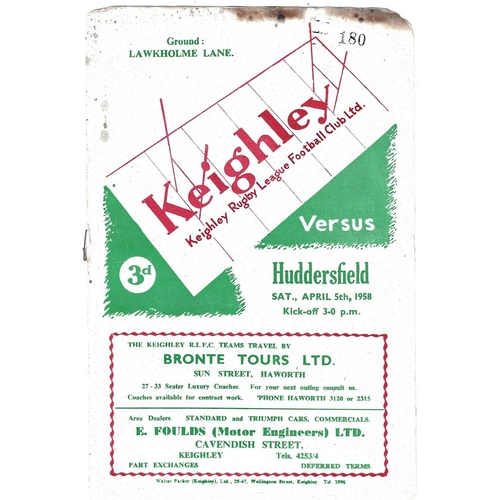1957/58 Keighley v Huddersfield Rugby League Programme