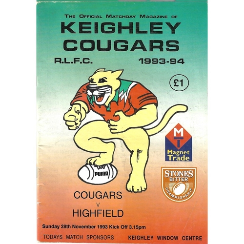 1993/94 Keighley Cougars v Highfield Rugby League Programme