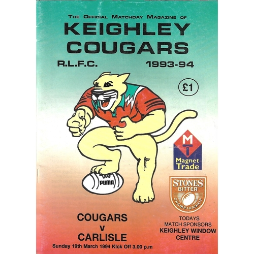 1993/94 Keighley Cougars v Carlisle Rugby League Programme