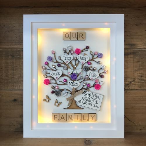 "Large LED "" floral "" family tree frame"