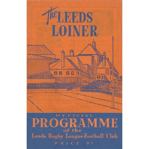 1961/62 Leeds v Warrington Rugby League Programme