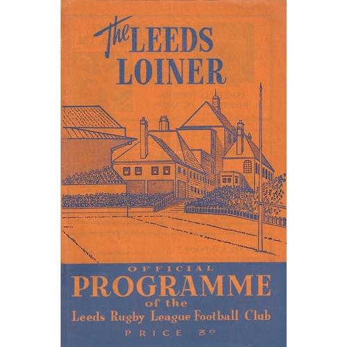 1961/62 Leeds v Halifax Rugby League Programme