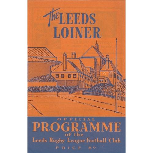1961/62 Leeds v Leigh Rugby League Programme