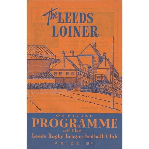 1961/62 Leeds v Wakefield Trinity Rugby League Programme
