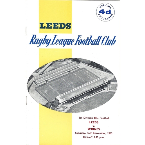 1963/64 Leeds v Widnes Rugby League Programme
