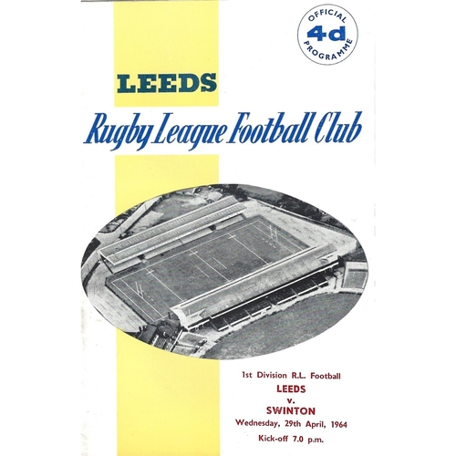 1963/64 Leeds v Swinton Rugby League Programme