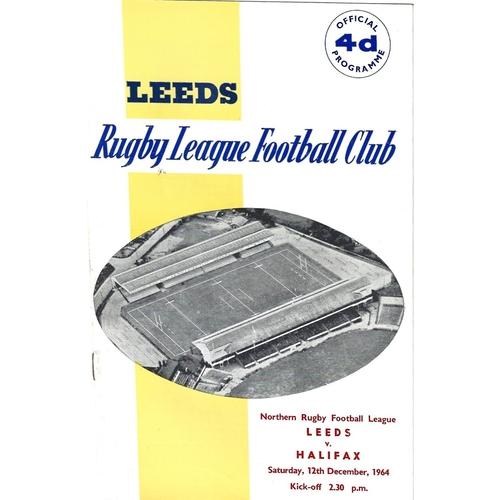 1964/65 Leeds v Halifax Rugby League Programme
