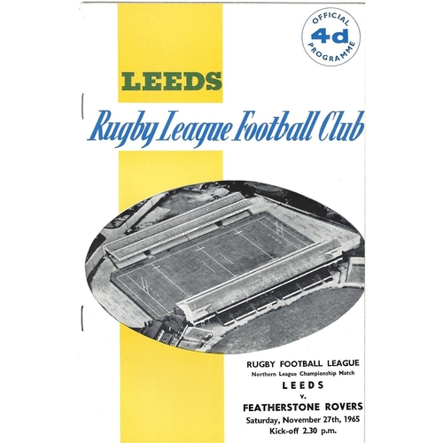 1965/66 Leeds v Featherstone Rovers Rugby League Programme