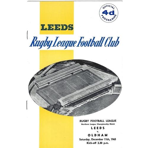 1965/66 Leeds v Oldham Rugby League Programme