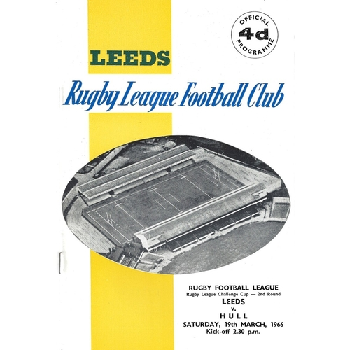 1965/66 Leeds v Hull Rugby League Challenge Cup 2nd Round Programme