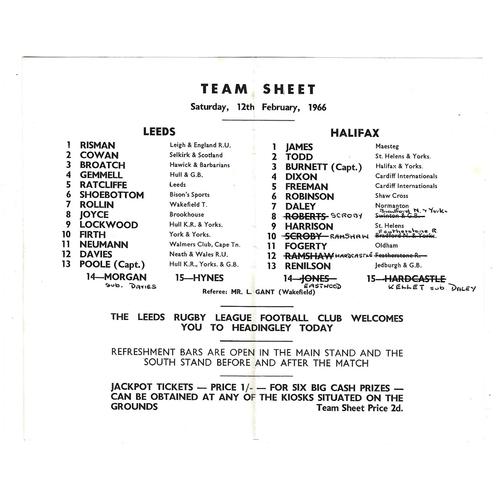 1965/66 Leeds v Halifax Rugby League Team Sheet