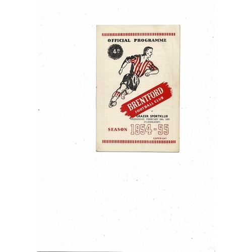 Brentford v Grazer Sportklub Friendly Football Programme 1954/55
