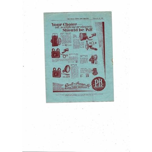 1930/31 Aston Villa v Sunderland Football Programme