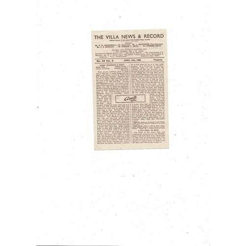 1947/48 Aston Villa v Blackburn Rovers Football Programme