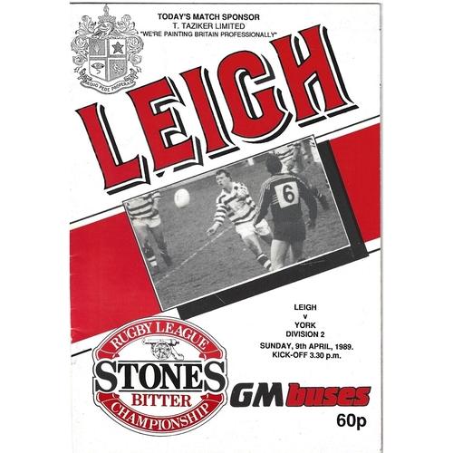1988/89 Leigh v York Rugby League Programme