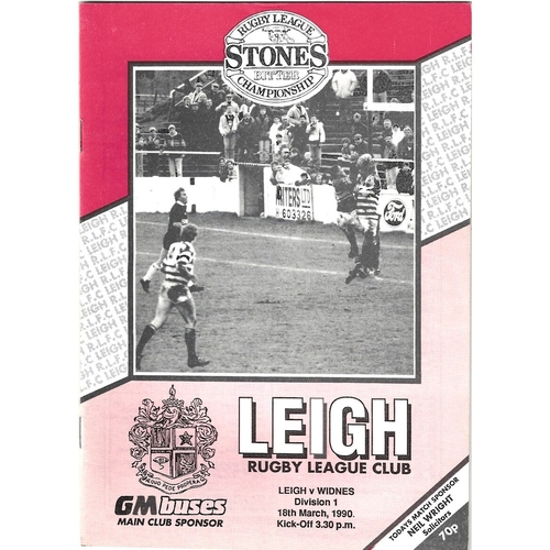 1989/90 Leigh v Widnes Rugby League Programme