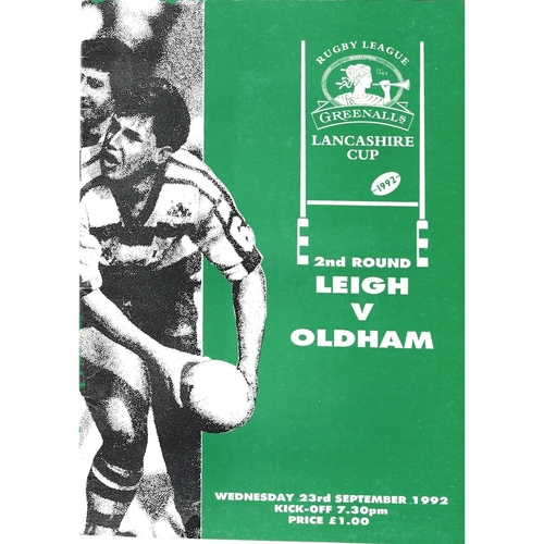 1992/93 Leigh v Oldham Lancashire Cup 2nd Round Rugby League Programme