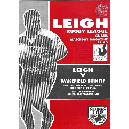 1992/93 Leigh v Wakefield Trinity Rugby League Programme