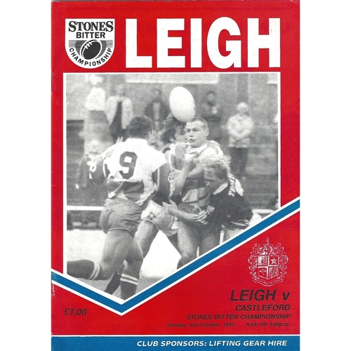 1993/94 Leigh v Castleford Rugby League Programme