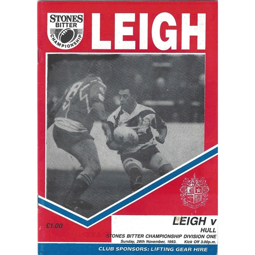 1993/94 Leigh v Hull Rugby League Programme