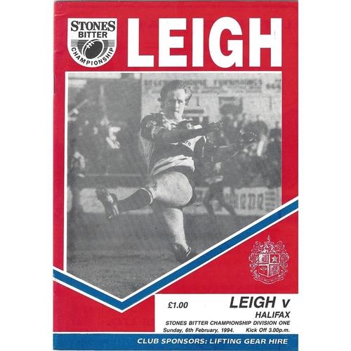 1993/94 Leigh v Halifax Rugby League Programme
