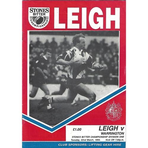 1993/94 Leigh v Warrington Rugby League Programme