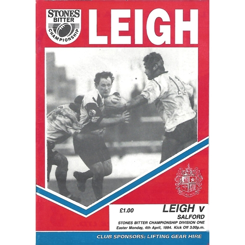 1993/94 Leigh v Salford Rugby League Programme