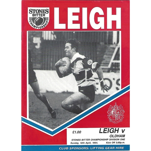 1993/94 Leigh v Oldham Rugby League Programme