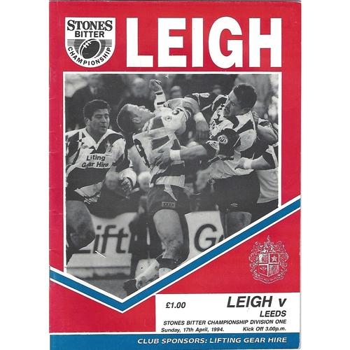 1993/94 Leigh v Leeds Rugby League Programme