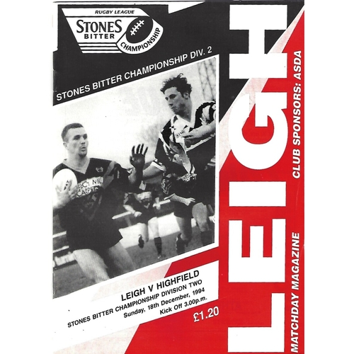 1994/95 Leigh v Highfield Rugby League Programme