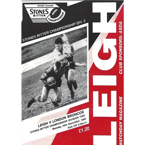 1994/95 Leigh v London Broncos Rugby League Programme