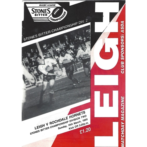 1994/95 Leigh v Rochdale Hornets Rugby League Programme