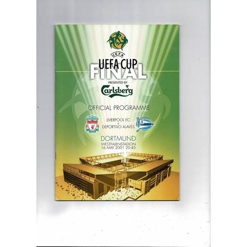 2001 Liverpool v Deportivo Alaves UEFA Cup Final Football Programme