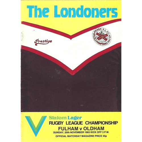 1983/84 Fulham v Oldham Rugby League Programme