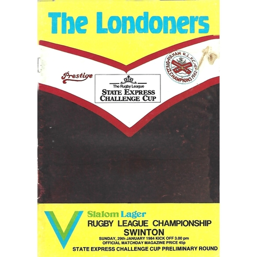 1983/84 Fulham v Swinton Rugby League Programme
